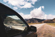 beautiful view of car on the background of Altai mountain valley. Altai mountains landscape