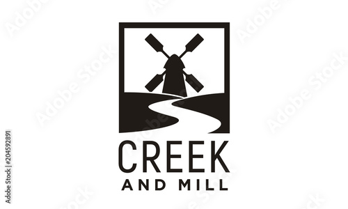 Photographie River Creek and Wind Mill Farm Field logo design inspiration
