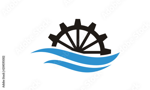 River Creek Water Mill, Ocean Sea Wave Cog Wheel Gear logo design inspiration Poster Mural XXL