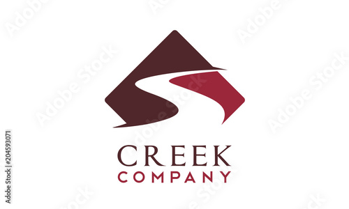 Canvas Print Winding Road Street Sign, River Creek logo design inspiration