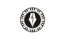 Quill Pen Piano Key Music Instrument For Write A Song Harmony Logo Design Inspiration