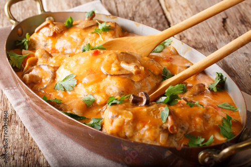 Fotografija Home French chicken chasseur with mushrooms and tomatoes close-up