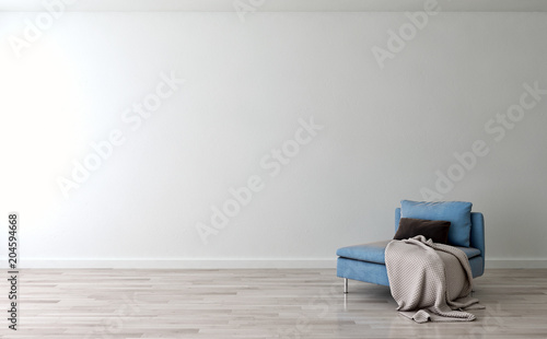 Fototapety, obrazy: Modern bright interiors apartment with mockup poster frame 3D rendering