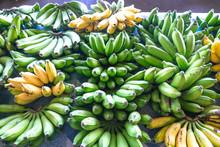 Green And Yellow Bananas On Di...