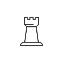 Chess Rook Outline Icon. Linea...