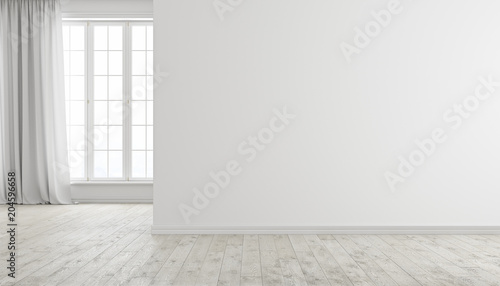 Fotografía  White modern bright empty room interior with window, wood floor and curtain