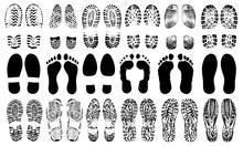Footprints Human Shoes Silhoue...