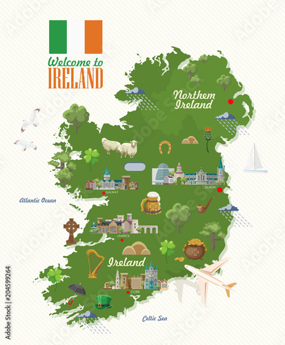 Cuadros en Lienzo Ireland vector illustration with landmarks, irish castle, green fields