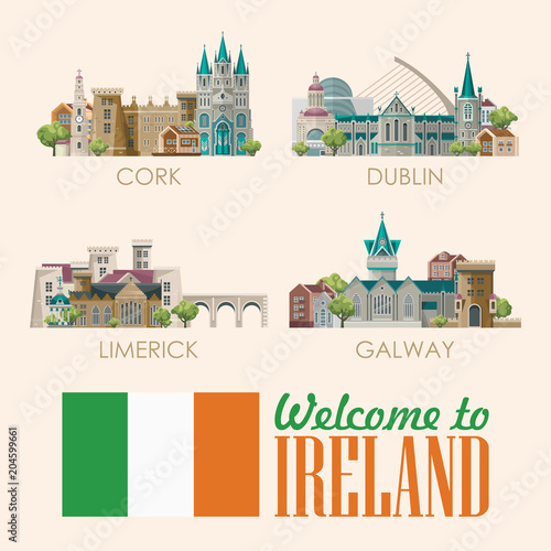 Photo  Ireland vector illustration with landmarks, irish castle, green fields
