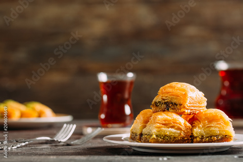 Traditional Baklava on Wooden Background Wallpaper Mural