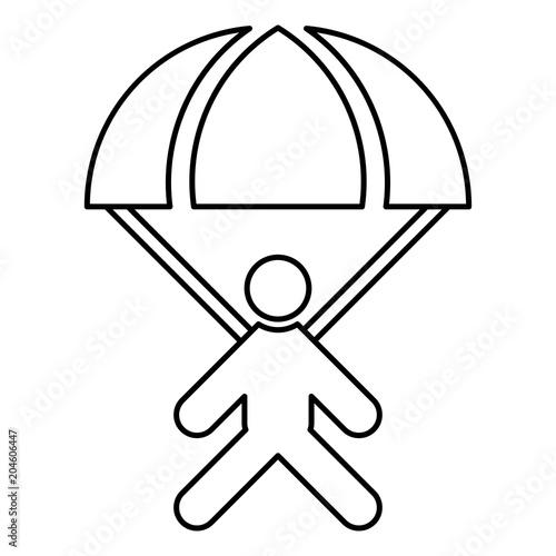 Parachute jumper icon black color illustration flat style simple image Canvas Print