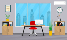 Office Interior In Flat Style....