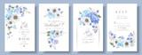 Fototapeta Kwiaty - Blue anemone wedding set