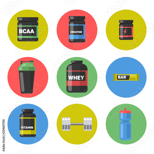 Fotografia  Vector set of Sport and fitness nutrition. Icon set.