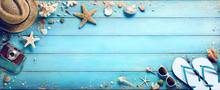 Beach Accessories With Seashells On Wooden Plank - Summer Holidays