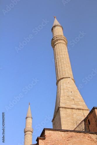 Fotografia  Minaret of The Hagia Sophia(Ayasofya) mosque museum, Istanbul, Turkey