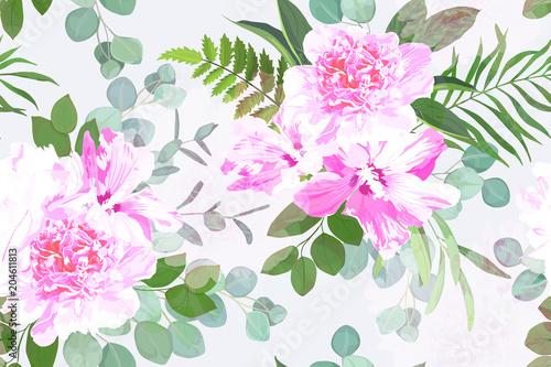 Kwiatowy wzór. Letni kwiatowy nadruk. Ilustracji wektorowych. Styl akwareli