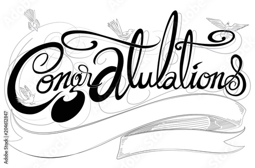 Photo  Congratulations classic font has birds design black and white color