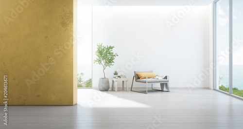 Sea View Living Room Of Luxury Beach House With Armchair Near Window On Wooden Floor Empty White And Yellow Wall Background In Vacation Home Or Holiday Villa Hotel Interior 3d Illustration