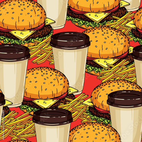 Vector Colorful Seamless Pattern Of A Fast Food And Drink Isolated From Red Background Wallpaper