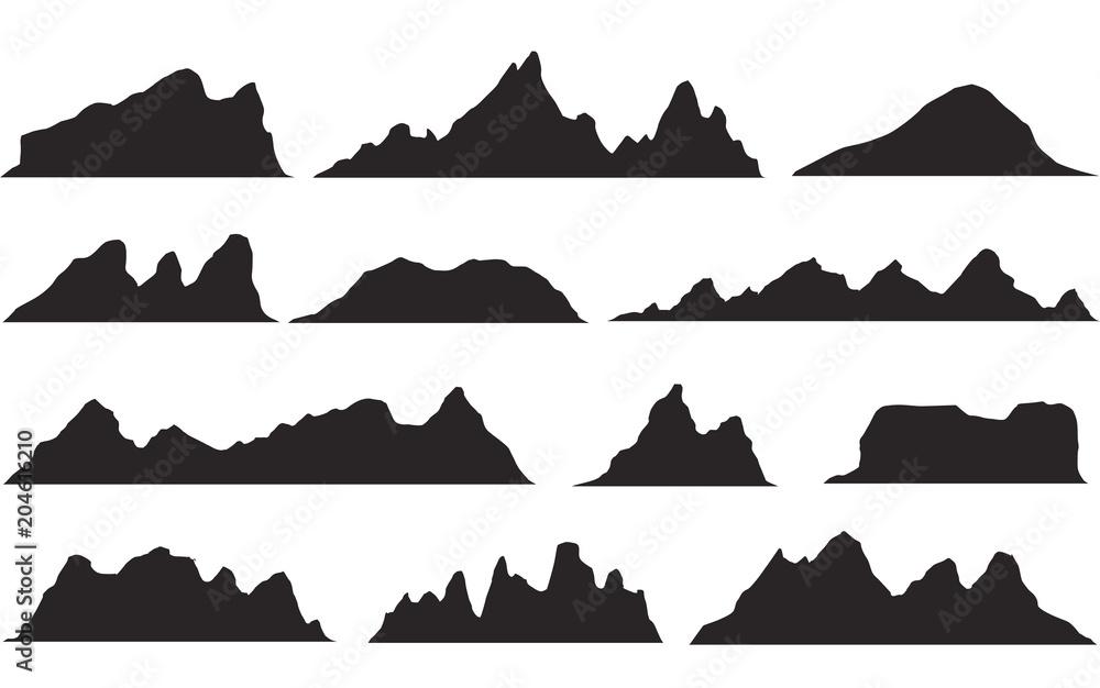 Fototapety, obrazy: Set of black and white mountain silhouettes.Background border of rocky mountains.