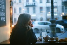Lonely Pensive Blonde Woman Th...