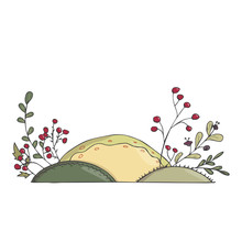 Meadow With Flowers Illustration Landscape Floral For Text Design Color Texture Garden Hill Yelllow Green Red Place Element Card Similar Spring Summer White Background