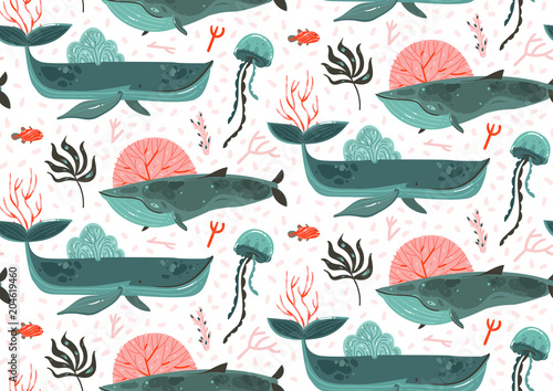 Cotton fabric Hand drawn vector abstract cartoon graphic summer time underwater ocean bottom illustrations seamless pattern with coral reefs,beauty big whales,seaweeds and jellyfish isolated on white background