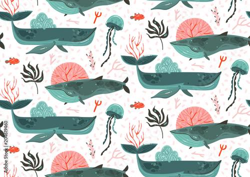 Materiał do szycia Ręka wektor ciągnione streszczenie kreskówka graficzny czas letni ocean podwodne dolnej ilustracje bezszwowe wzór z raf koralowych, piękno wielkie wieloryby, wodorosty morskie i meduzy na białym tle