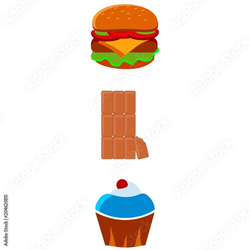 icons about Food with cake, chocolate, hamburger, eat and lunch Poster