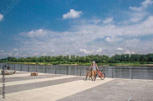 Fototapeta Vistula boulevards on the western side of the Vistula River in Warsaw obraz
