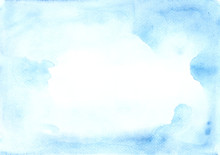Universal Watercolor Blue Frame With Stains Of Paint On A White Paper Texture. Ideal For Text, Layouts, Banners And Advertising.