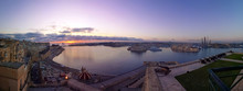 Valletta Grand Harbour With Three Cities At Purple Sunrise Panorama, Malta