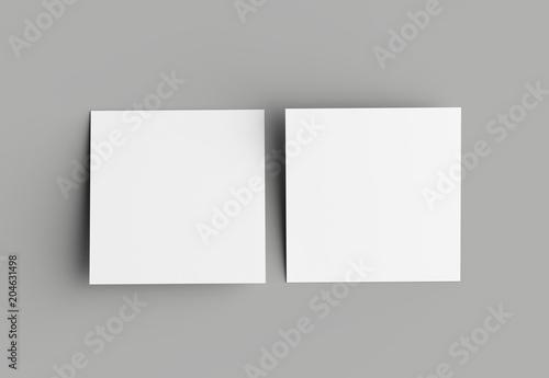 Fotografie, Obraz  Bi fold square brochure or invitation mock up isolated on gray background