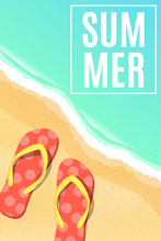Summer Seasonal Poster. Beach Flip Flops. Sea Shore. Cartoon Flat Style. Bathing Season. Vector Illustration