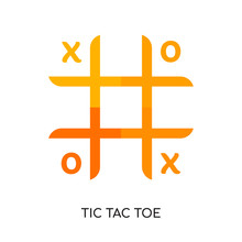 Tic Tac Toe Logo Isolated On White Background , Colorful Vector Icon, Brand Sign & Symbol For Your Business