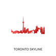 toronto skyline logo isolated on white background , colorful vector icon, flat sign and symbol