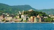 southern europa - italian riviera village of Santa Margherita Ligure. scenic town view from sightseeing boat