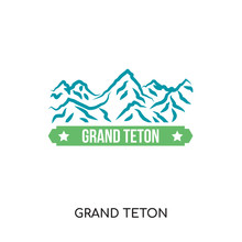 Grand Teton Logo Isolated On White Background , Colorful Vector Icon, Brand Sign & Symbol For Your Business