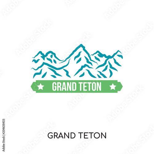 Obraz na plátne grand teton logo isolated on white background , colorful vector icon, brand sign