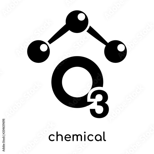 Chemical Symbol For Ozone Isolated On White Background Black