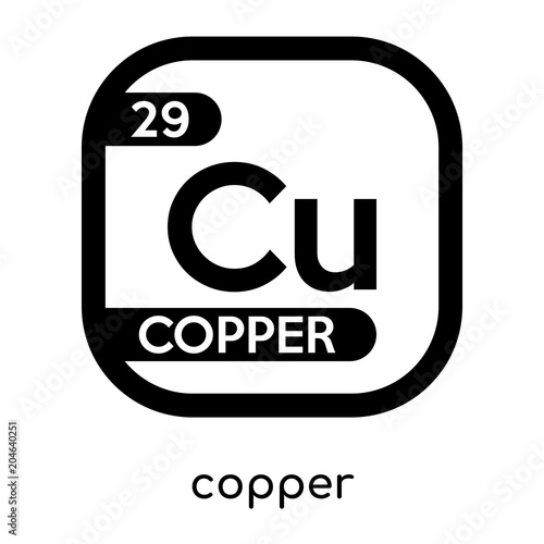 Copper Symbol Periodic Table Isolated On White Background Black