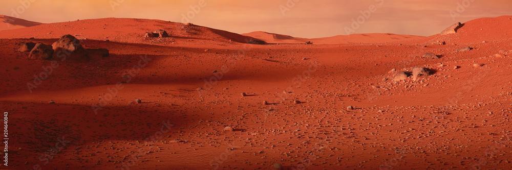 landscape on planet Mars, scenic desert on the red planet