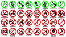 Prohibition Sign Icon Set For Public Park