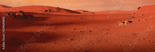 Rouge traffic landscape on planet Mars, scenic desert on the red planet