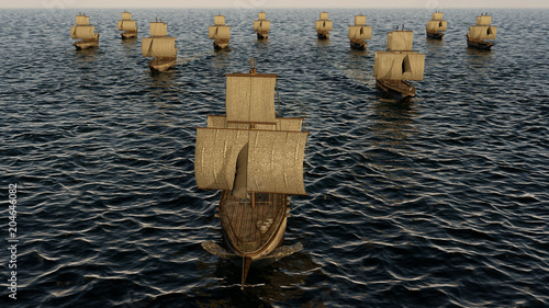3D Illustration of old wooden warships fleet on the ocean Canvas Print