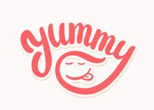 Yummy Word. Vector Lettering.
