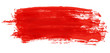Red stroke of watercolor paint brush isolated on white