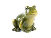 Green Ceramic Frog On White Background