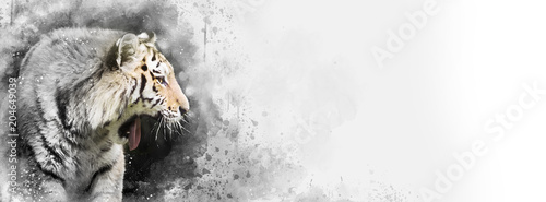 Siberian tiger mixed media banner with subtle colour
